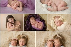Two year old with her newborn sister in her first newborn photo shoot using lots of purples and creams.