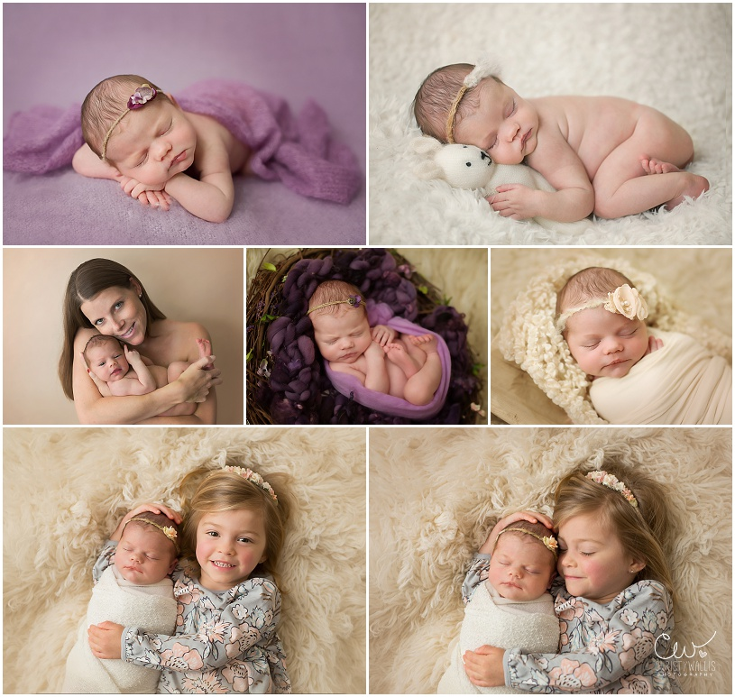Two year old with her newborn sister in her first newborn photo shoot using lots of